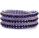 Fashion 4mm Multilayer Manmade Colorful Blue Crystal Purple Leather Wrap Bracelet