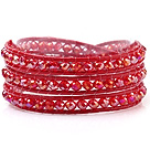 Fashion 4mm Multilayer Manmade Red Crystal And Red Leather Wrap Bracelet
