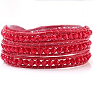 Fashion 4mm Multilayer Manmade Rose Crystal And Rose Leather Wrap Bracelet