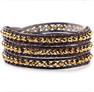 Fashion 4mm Multilayer Manmade Golden Crystal And Dark Brown Leather Wrap Bracelet