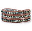 Fashion Multilayer 4mm Lake Blue Manmade Crystal And Hand-Knotted Brown Leather Wrap Bracelet