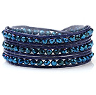 Popular Multilayer 4mm Blue Series Manmade Crystal And Hand-Knotted Leather Wrap Bracelet