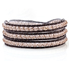Popular Multilayer 4mm Manmade Clear Gray Crystal And Hand-Knotted Brown Leather Wrap Bracelet