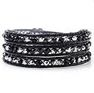 Fashion Multilayer 4mm Silver Black Manmade Crystal And Hand-Knotted Black Leather Wrap Bracelet