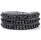 Fashion Multilayer 4mm Black Series Manmade Crystal And Hand-Knotted Leather Wrap Bracelet