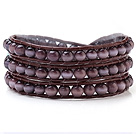Nice Multilayer Cats Eye Stone And Hand-Knotted Brown Leather Wrap Bracelet