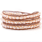 Nice Multilayer Natural 5-6mm Pink Freshwater Pearl And Hand-Knotted Brown Leather Wrap Bracelet