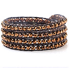 Nice Multilayer 4mm Gold Manmade Crystal And Hand-Knotted Brown Wax Cord Wrap Bracelet