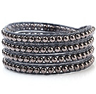 Nice Multilayer 4mm Blackish Gray Alloy Beads And Hand-Knotted Wax Cord Wrap Bracelet