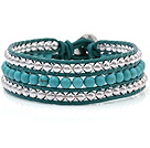Fashion Multilayer 4mm Round Blue Turquoise And Silver Beads Hand-Knotted Green Leather Wrap Bracelet
