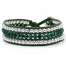 Fashion Multilayer 4mm Round Malachite And Silver Beads Hand-Knotted Green Leather Wrap Bracelet