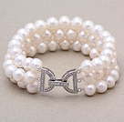 High Quality Three Strands 7-8mm Natural White Freshwater Pearl Beaded Bracelet With Letter Clasp