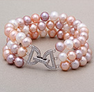 High Quality Three Strands 7-8mm Natural White Pink Purple Freshwater Pearl Beaded Bracelet With Letter Clasp