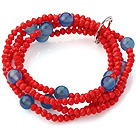 Fashion Multilayer Red Jade-Like Crystal And Round Faceted Blue Agate Elastic Bracelet