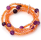 Fashion Multilayer Champagne Jade-Like Crystal And Round Purple Agate Elastic Bracelet