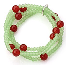 Fashion Multilayer Apple Green Jade-Like Crystal And Faceted Round Red Agate Elastic Bracelet