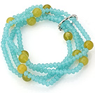 Fashion Multilayer Blue Jade-Like Crystal And Round Yellow Agate Elastic Bracelet