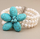 Fashion Three-Row White Freshwater Pearl And Wired Blue Turquoise Flower Wrap Bracelet