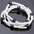 Fashion Multi Strands White Jade-Like Crystal And Round Black Stone Stretch Bracelet