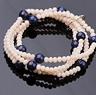 Fashion Multi Strands Flesh Pink Jade-Like Crystal And Round Lapis Stone Stretch Bracelet