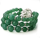Fashion Multilayer Round Aventurine Beaded Bangle Bracelet With Oval Stone Clasp
