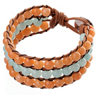 Popular Three-Layer 6mm Round Orange And Blue Candy Jade Brown Leather Wrap Bracelet
