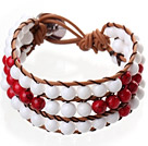 Popular Three-Layer 6mm Round White Porcelain And Red Bloodstone Brown Leather Wrap Bracelet