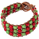 Popular Three-Layer 6mm Round Red And Green Turquoise Brown Leather Wrap Bracelet