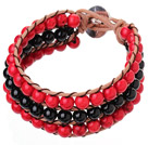 Popular Three-Layer 6mm Round Red Turquoise And Black Agate Brown Leather Wrap Bracelet