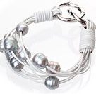 Fashion Multilayer 10-11mm Natural Gray Freshwater Pearl And White Leather Bracelet With Double-Ring Clasp
