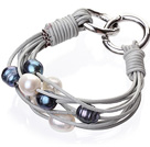 Fashion Multilayer 10-11mm Natural Black White Freshwater Pearl And Gray Leather Bracelet With Double-Ring Clasp