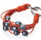 Fashion Multilayer 10-11mm Natural Black Freshwater Pearl And Orange Leather Bracelet With Double-Ring Clasp