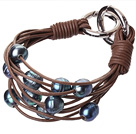 Fashion Multilayer 10-11mm Natural Black Freshwater Pearl And Brown Leather Bracelet With Double-Ring Clasp