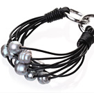 Popular Multi Strands Natural 10-11mm Gray Freshwater Pearl And Black Leather Bracelet With Double-Ring Clasp
