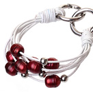 Fashion Multilayer 10-11mm Natural Red Freshwater Pearl And White Leather Bracelet With Double-Ring Clasp