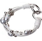 Fashion Multilayer 10-11mm Natural Gray Freshwater Pearl Silver Round Beads And White Leather Bracelet With Double-Ring Clasp