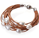 Fashion Multilayer 10-11mm Natural White Freshwater Pearl And Brown Leather Bracelet With Magnetic Clasp