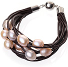 Fashion Multilayer 10-11mm Natural Pink Freshwater Pearl And Dark Brown Leather Bracelet With Magnetic Clasp