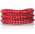 Lovely Multilayer 3.5mm Round Red Coral And Hand Knotted Red Leather Wrap Bracelet