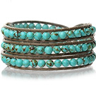 Lovely Multilayer 4mm Round Green Turquoise And Hand Knotted Brown Leather Wrap Bracelet under $ 40