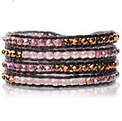 Lovely Multilayer 4mm Mixed Color Manmade Crystal And Hand Knotted Brown Leather Wrap Bracelet