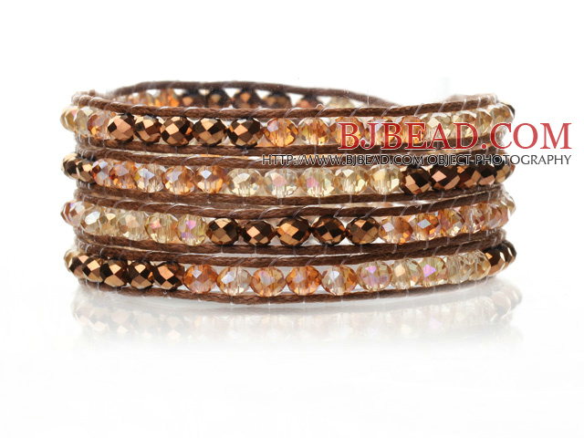 Lovely Multilayer 4mm Golden Yellow Series Crystal And Hand Knotted Brown Leather Wrap Bracelet