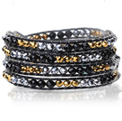 Lovely Multilayer 4mm Mixed Color Crystal And Hand Knotted Black Leather Wrap Bracelet under $ 40