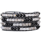 Lovely Multilayer 4mm Mixed Color Manmade Crystal And Hand Knotted Black Leather Wrap Bracelet under $ 40