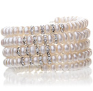 Pretty Multilayer Natural 6-7mm White Freshwater Pearl Beaded Wrap Bracelet With Silver Rhinestone Charms