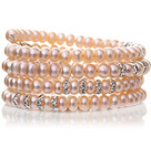 Pretty Multilayer Natural 6-7mm Pink Freshwater Pearl Beaded Wrap Bracelet With Silver Rhinestone Charms