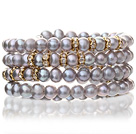 Pretty Multilayer Natural 5-6mm Silver Gray Freshwater Pearl Beaded Wrap Bracelet With Gold Rhinestone Charms