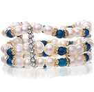 Pretty Three-Row Natural 6-7mm White Freshwater Pearl And Round Blue Agate Elastic Bracelet With Gold And Silver Rhinestone Charms