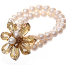 Fashion Double Strands Natural White Freshwater Pearl And Faceted Yellow Teardrop Crystal Flower Bangle Bracelet