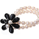 Fashion Double Strands Natural White Freshwater Pearl And Faceted Black Teardrop Crystal Flower Bangle Bracelet